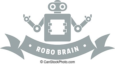 Robot brain logo, simple gray style