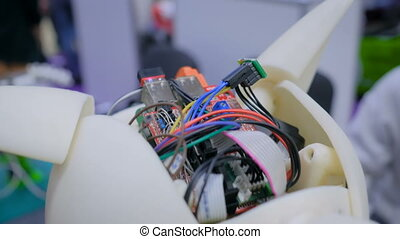 Robot brain with wires and chip - Robot brain with wires and...