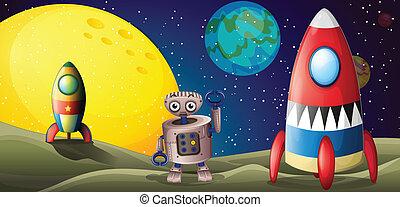 robot, buitenst, spaceships, twee, ruimte