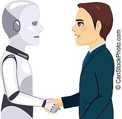 Robot Businessman Meeting