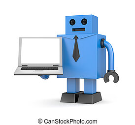 Robot businessman with notebook
