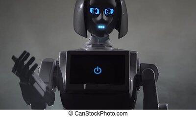 Robot calls to himself. Black smoke background. Close up....