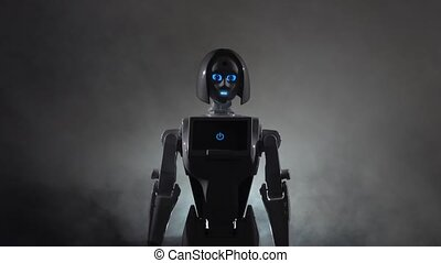 Robot calls to itself. Black smoke background - Robot calls...
