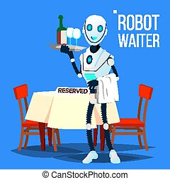 robot, cameriere, tenendo vassoio, con, bibite, vector., isolato, illustrazione