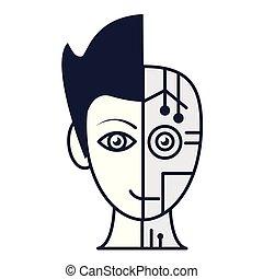 robot, cara humana