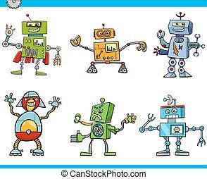 robot, caractères, dessin animé