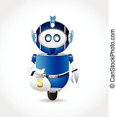 robot carry money bag - robot illustration character carry...