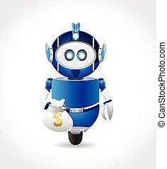 robot illustration character carry money bag