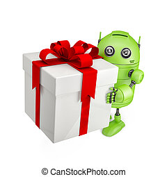 Robot carrying huge gift box. Isolated on white
