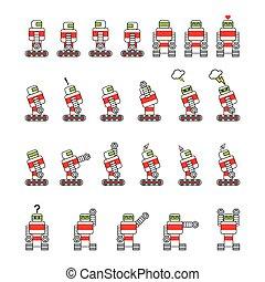 Robot cartoon, simple drawing, in various positions