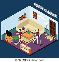 robot, casalinga, e, pulitore, professioni