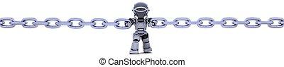 robot, catena, presa a terra