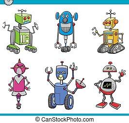 robot characters cartoon set - Cartoon Illustration of...