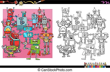 robot characters group coloring book