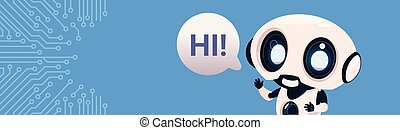 Robot Chatter Bot Say Hi Over Circuit Background With Copy Space