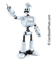 Robot Chef pointing over white background. 3D illustration. Isolated. Contains clipping path