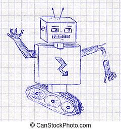 Robot. Children's drawing in a school notebook