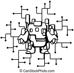 Robot Circuits Cartoon Line Drawing