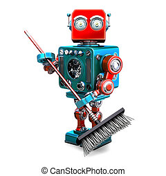 Robot cleaner with a broom. 3D illustration. Isolated. Contains clipping path