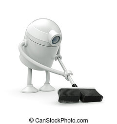 Robot cleaner with mop. 3d illustration
