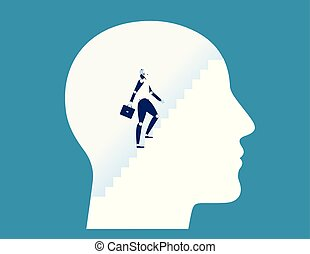 Robot climbing stairs inside human head. Concept business vector illustration.