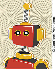 Robot colored in retro offset style - Red and yellow single...
