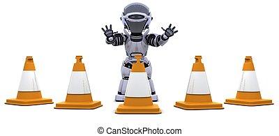 robot, con, cucuruchos de tráfico