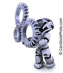 robot, con, ingranaggio, meccanismo
