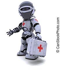 robot, con, kit de primeros auxilios