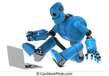 robot, con, laptop