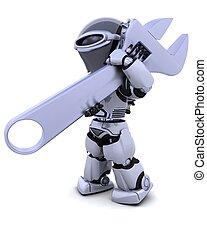 robot, con, llave inglesa