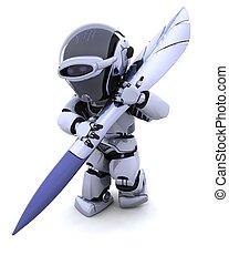 robot, con, pluma