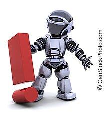 robot, con, símbolo