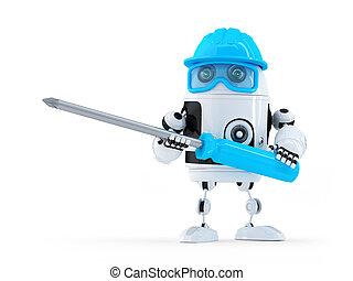 robot, con, screwdriver.
