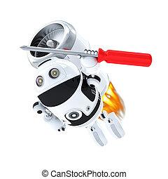 robot, con, screwdriver., rápido, computadora, servicio, concepto