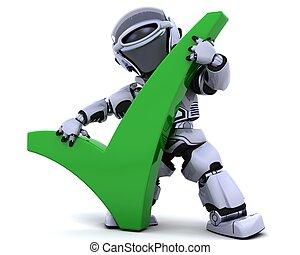 robot, con, simbolo