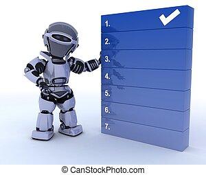 robot, con, un, para hacer la lista