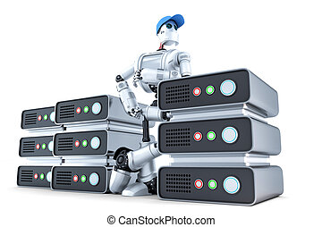 robot, con, un, pila, de, servidores, hosting, concept., isolated., contiene, ruta de recorte