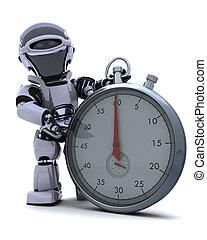 robot, con, un, tradicional, cromo, reloj de parada