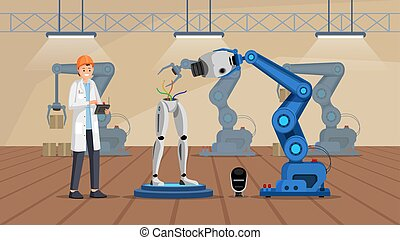 Robot construction plant flat vector illustration. Smiling scientist in white coat building droid character. Cyborg assembling line, futuristic machines manufacturing, production factory