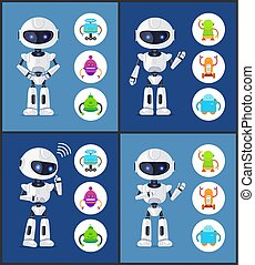 Robot Contemporary Style Set Vector Illustration