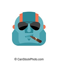 Robot Cool serious avatar of emotions. Cyborg smoking cigar emoji. Robotic man strict. Vector illustration