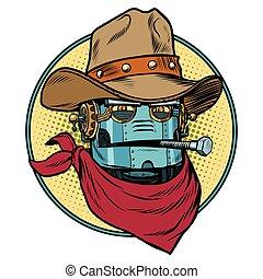 Robot cowboy West wild world. Pop art retro vector...