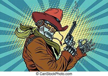 Robot cowboy wild West, OK gesture, pop art retro vector ...