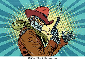 Robot cowboy wild West, OK gesture, pop art retro vector...
