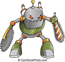 robot, cyborg, masivo, guerrero