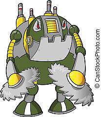 robot, cyborg, masywny, wojownik