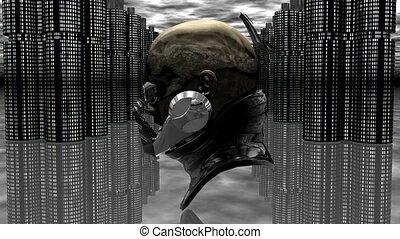 robot, cyborg, tête