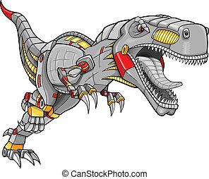 Robot Cyborg Tyrannosaurus Dinosaur Vector Illustration