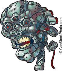robot, czaszka, wektor, chwyćcie sztukę